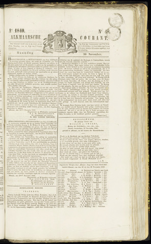 Alkmaarsche Courant 1840-11-30