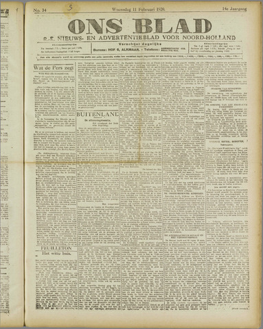 Ons Blad : katholiek nieuwsblad voor N-H 1920-02-11