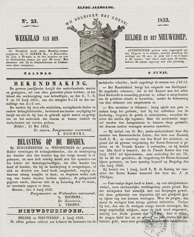 Weekblad van Den Helder en het Nieuwediep 1853-06-06