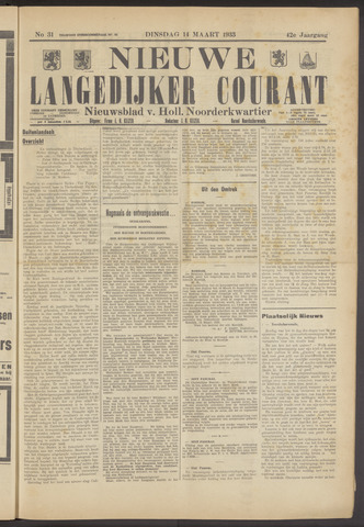 Nieuwe Langedijker Courant 1933-03-14