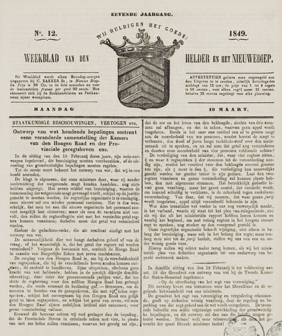 Weekblad van Den Helder en het Nieuwediep 1849-03-19