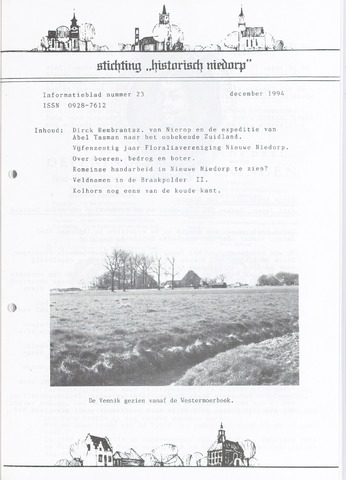 Informatieblad stichting Historisch Niedorp 1994-12-01