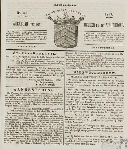 Weekblad van Den Helder en het Nieuwediep 1853-09-26