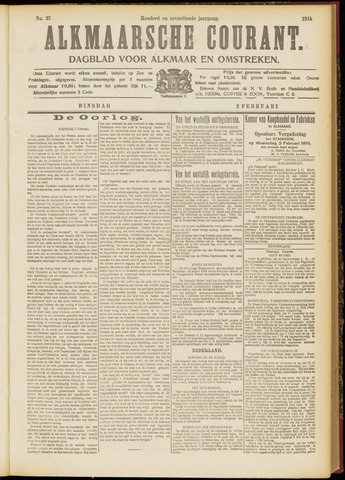 Alkmaarsche Courant 1915-02-02