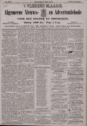 Vliegend blaadje : nieuws- en advertentiebode voor Den Helder 1875-04-07