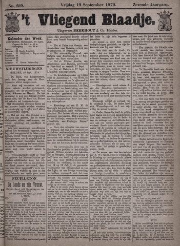 Vliegend blaadje : nieuws- en advertentiebode voor Den Helder 1879-09-19