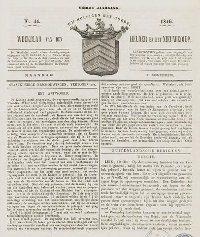 Weekblad van Den Helder en het Nieuwediep 1846-11-02