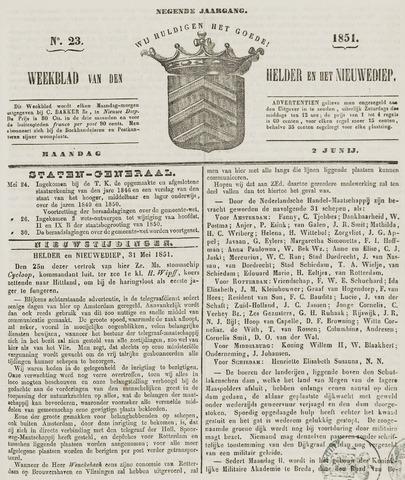 Weekblad van Den Helder en het Nieuwediep 1851-06-02