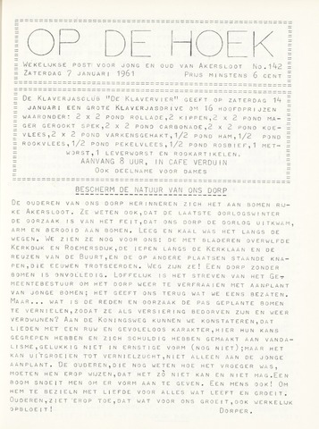 Op De Hoek, weekblad voor Akersloot 1961-01-07