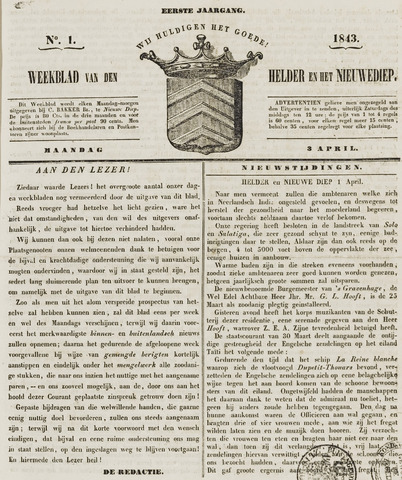 Weekblad van Den Helder en het Nieuwediep 1843-04-03