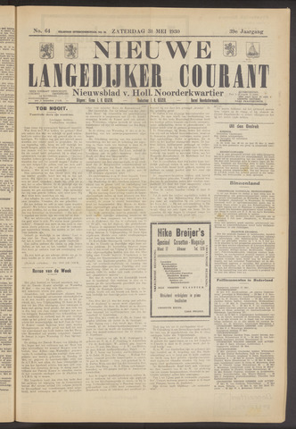 Nieuwe Langedijker Courant 1930-05-31