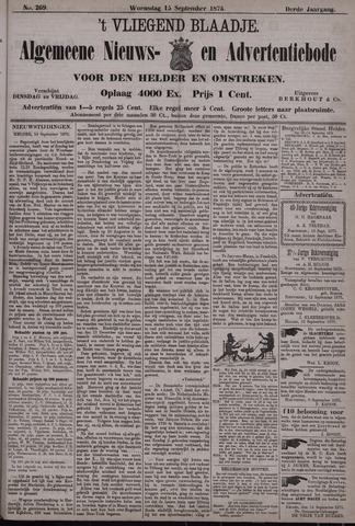 Vliegend blaadje : nieuws- en advertentiebode voor Den Helder 1875-09-15