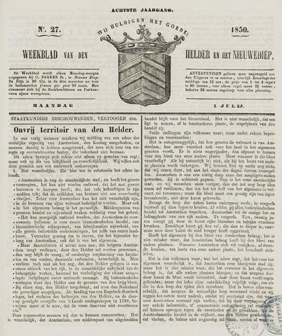 Weekblad van Den Helder en het Nieuwediep 1850-07-01