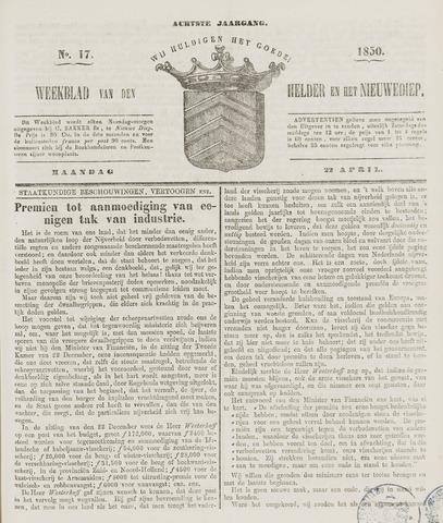 Weekblad van Den Helder en het Nieuwediep 1850-04-22