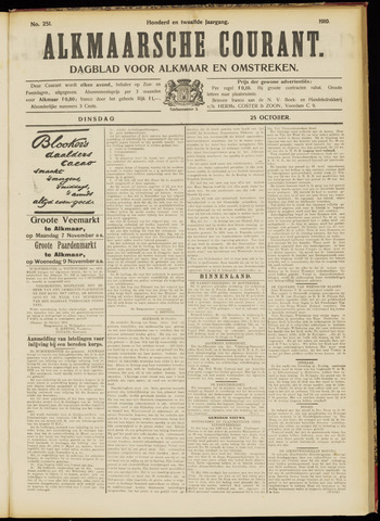 Alkmaarsche Courant 1910-10-25