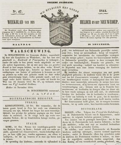 Weekblad van Den Helder en het Nieuwediep 1844-11-18
