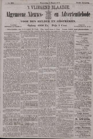 Vliegend blaadje : nieuws- en advertentiebode voor Den Helder 1875-03-03