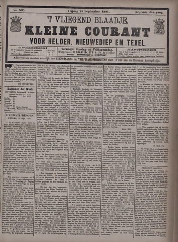 Vliegend blaadje : nieuws- en advertentiebode voor Den Helder 1881-09-23