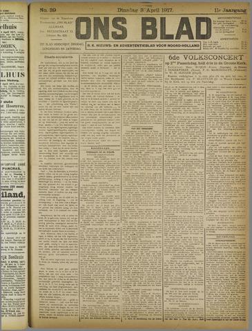 Ons Blad : katholiek nieuwsblad voor N-H 1917-04-03