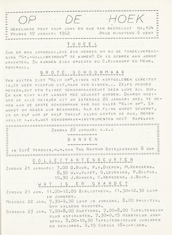 Op De Hoek, weekblad voor Akersloot 1962-01-19