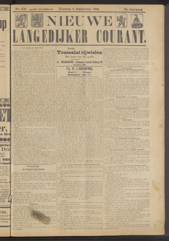 Nieuwe Langedijker Courant 1922-09-05