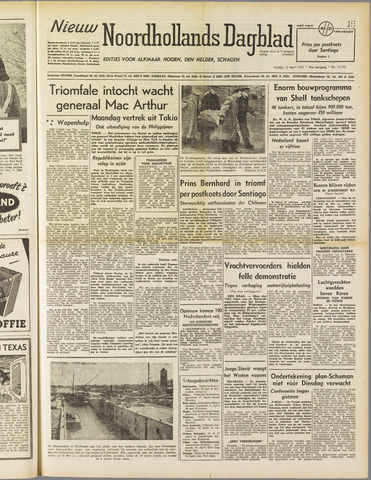 Nieuw Noordhollandsch Dagblad : voor Alkmaar en omgeving 1951-04-13