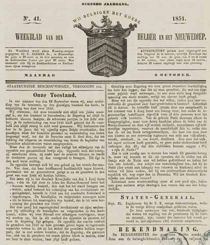 Weekblad van Den Helder en het Nieuwediep 1851-10-06