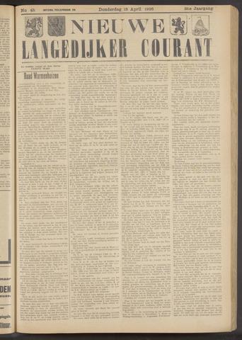 Nieuwe Langedijker Courant 1926-04-15