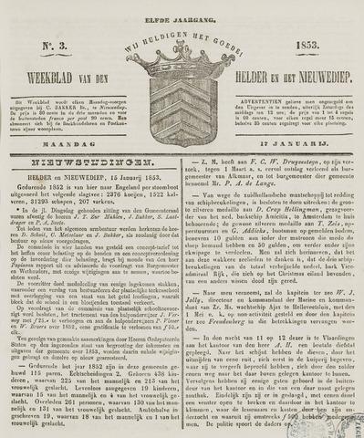 Weekblad van Den Helder en het Nieuwediep 1853-01-17
