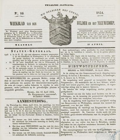 Weekblad van Den Helder en het Nieuwediep 1854-04-17