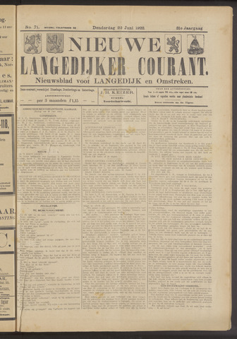 Nieuwe Langedijker Courant 1922-06-22