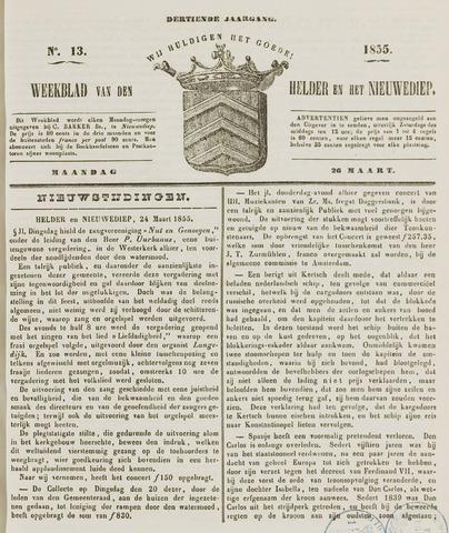 Weekblad van Den Helder en het Nieuwediep 1855-03-26