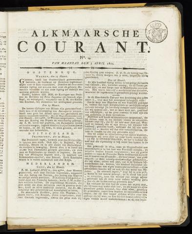 Alkmaarsche Courant 1815-04-03