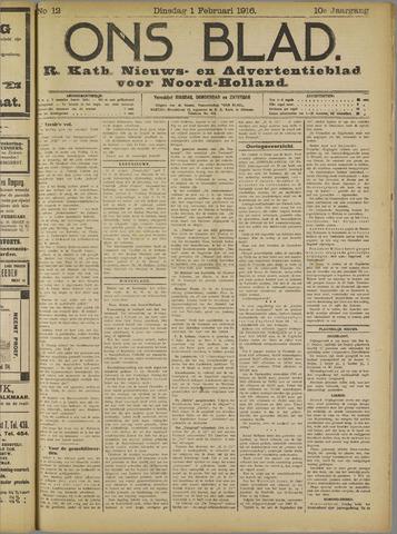 Ons Blad : katholiek nieuwsblad voor N-H 1916-02-01