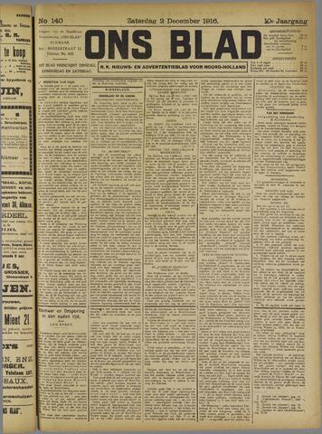 Ons Blad : katholiek nieuwsblad voor N-H 1916-12-02