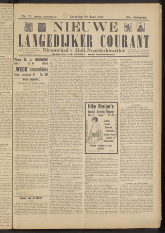 Nieuwe Langedijker Courant 1928-06-30