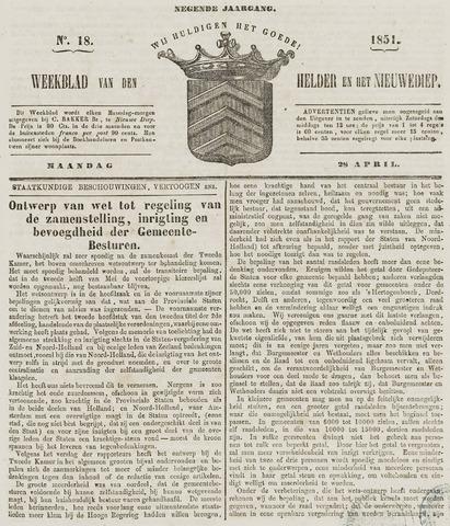 Weekblad van Den Helder en het Nieuwediep 1851-04-28