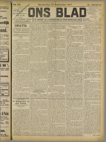 Ons Blad : katholiek nieuwsblad voor N-H 1917-09-27