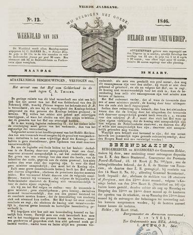 Weekblad van Den Helder en het Nieuwediep 1846-03-23