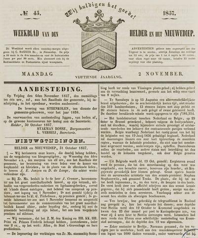 Weekblad van Den Helder en het Nieuwediep 1857-11-02