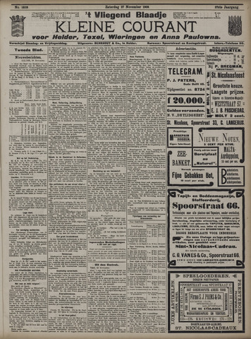 Vliegend blaadje : nieuws- en advertentiebode voor Den Helder 1909-11-27