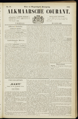 Alkmaarsche Courant 1892-01-29