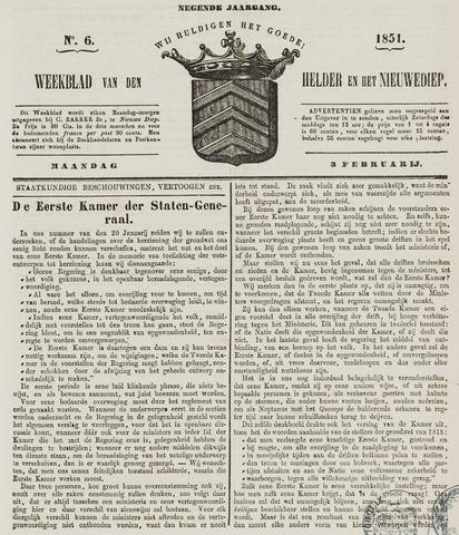 Weekblad van Den Helder en het Nieuwediep 1851-02-03