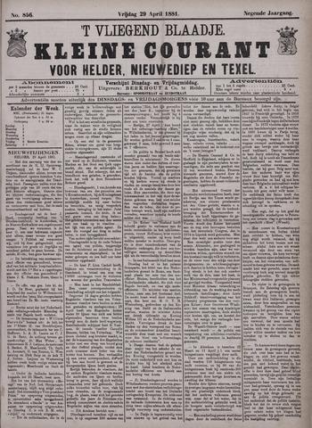 Vliegend blaadje : nieuws- en advertentiebode voor Den Helder 1881-04-29