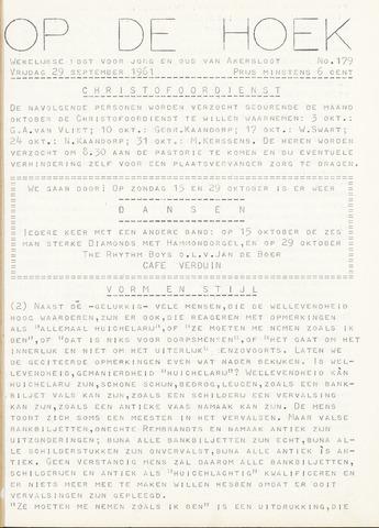 Op De Hoek, weekblad voor Akersloot 1961-09-29
