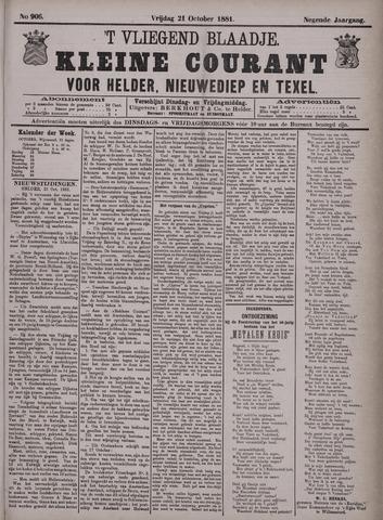 Vliegend blaadje : nieuws- en advertentiebode voor Den Helder 1881-10-21