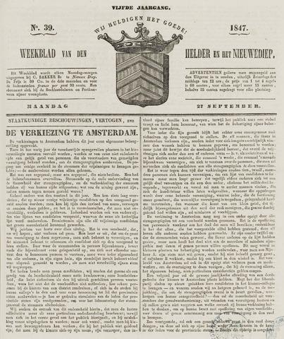 Weekblad van Den Helder en het Nieuwediep 1847-09-27