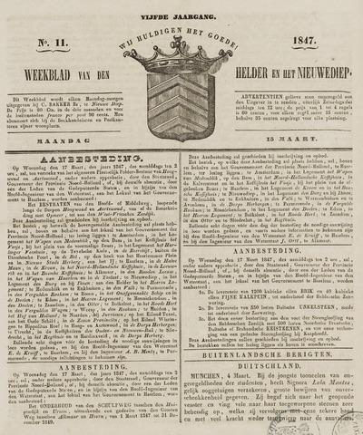 Weekblad van Den Helder en het Nieuwediep 1847-03-15