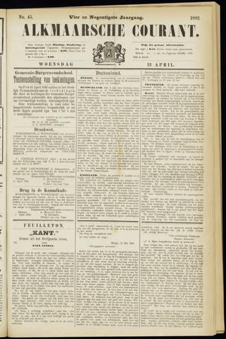 Alkmaarsche Courant 1892-04-13