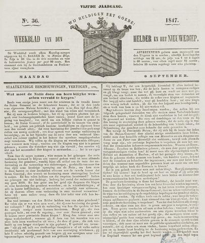 Weekblad van Den Helder en het Nieuwediep 1847-09-06